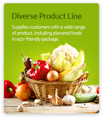 Diverse Product Line - Supplies customers with a wide range of product, including prepared foods in eco-friendly package.